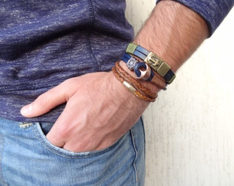 EXPRESS SHIPPING, Men's Navy Blue Leather Bracelet, Men's Jewelry,Antiquing Magnetic Anchor Clasp Bracelet,Men's Cuff Bracelet,Father's Day