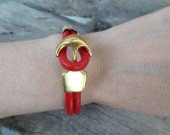 EXPRESS SHIPPING,Gold Anchor Bracelet, Red Leather Bracelet, Women Jewelry, Cuff Bracelet, Elegance,Feminine Bracelet, Mother's Day