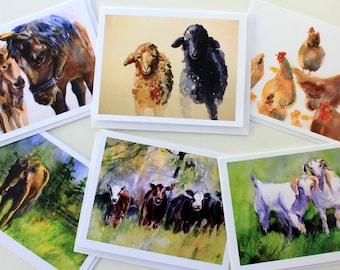 Animal Card Pack - six 4.25 x 5.5 note cards - note cards with envelopes - sheep - horses - goats - chickens