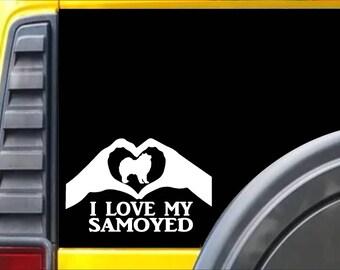 Samoyed Heart Hands K568 8 Inch sticker dog decal