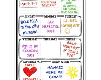 """Smart Planner Weekly Planner Magnetic Dry Erase Whiteboard for Fridge 30 Mil Thick Magnet with Laminated Vinyl 16"""" x 11.75"""" Weekly Planner"""
