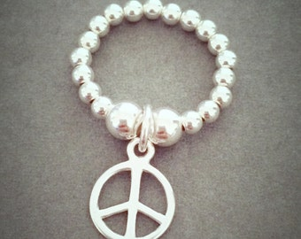 Sterling Silver Peace Charm Ring