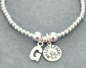 Sterling Silver My Little Girl and Initial Mother's Day Charm Bracelet