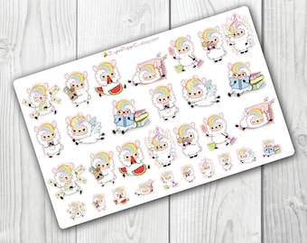 Cute Llama stickers, colorful, rainbow, Planner Stickers, Small Stickers, Fun, Colorful, Functional