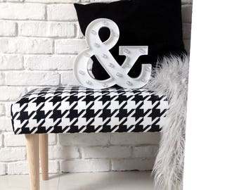 Modern BENCH scandinavian style houndstooth chanel wood black-white size 70x35 cm decoration hall lobby NEW