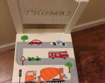 Solid wood hand painted personalised children's chairs.