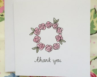 Roses Thank You Card Blank