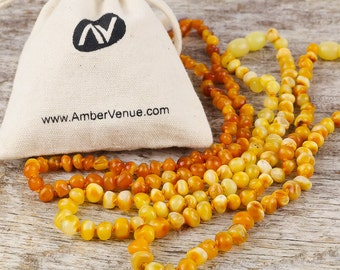 Baltic Amber Teething Necklace For Babies (unisex) | Semi-round Amber Bead's | Natural Baltic Amber | Pain Releaf Properties | Butterscotch
