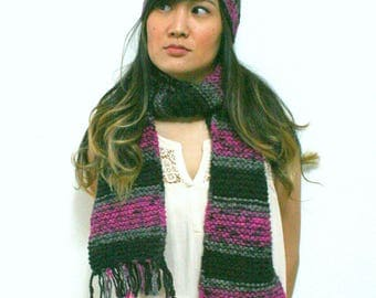Chunky Pink Gray and Black Striped Hat and Scarf Set