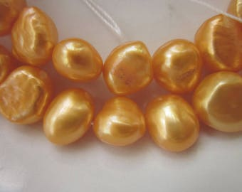"Tangerine Orange Freshwater Pearls, 11mm x 9mm Fat Nuggets, Two 14.5"" Strands"