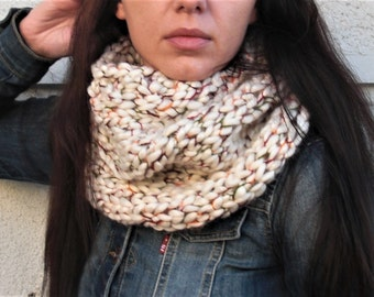 Knit cowl scarf hand knit scarf Knit neck warmer chunky knit scarf chunky knit cowl loop scarf tube scarf scarf wool scarf christmas gift
