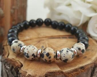 Mala bracelet/ black onyx/ dalmatian jasper/yoga bracelet/ energy bracelet/boho bracelet/ gemstone bracelet/gift for her/meditation bracelet
