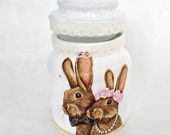 Decorative jar, wedding favours, keepsake jars, cosmetic holder, bunny, bunnies, rabbit, rabbits, love, decoupage, recycled, reused, pink
