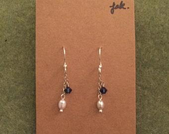 Fresh Water Pearl and Swarovski earrings