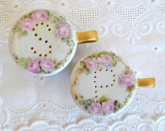 vintage salt and pepper shakers hand painted floral pink green gold salt & pepper shakers cup shakers