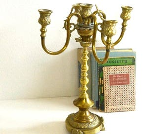 vintage brass candelabra golden four arm candelabra