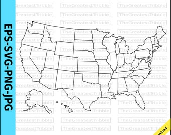 Us Map Etsy - Us map with states outlines 8 1 2 x 11
