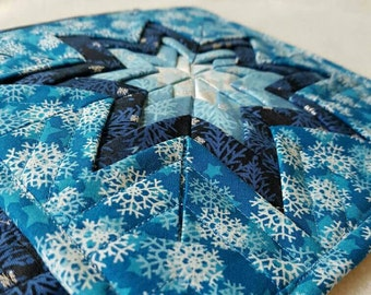 Folded star hotpads, potholders, Amish star hotpads, winter hotpads, hostess gift