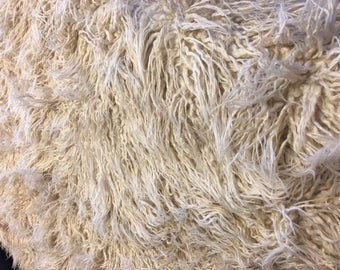 Mongolian Long Faux Fur High Quality Fake Hair Cream Tan Curly Sheep Beige Off White Ivory