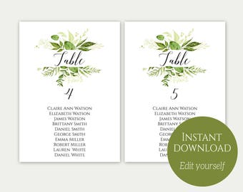 Seating Chart Template, Seating Chart Cards, Seating Chart Sign, Seating Chart Template, Editable Seating Chart, Wedding Seating, Greenery