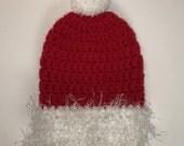 Santa Hat = Cast Sock = Ready to ship = Medium Weight Yarn .