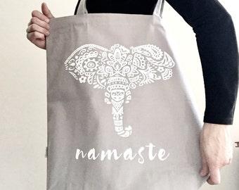 Yoga Tote Bag - elephant, namaste tote bag