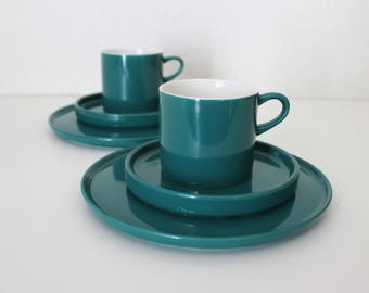 Melitta Stockholm dishes for 2 people, cups, plates, green, vintage Germany