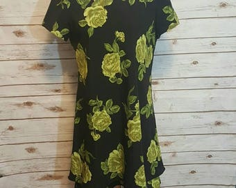 VIntage, 1980's, Black shift dress/ green rose print, Medium