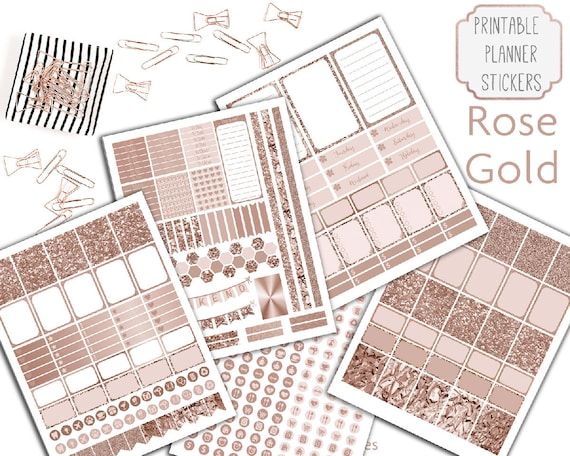 Printable Rose Gold Planner Stickers, Rose Gold Stickers ...
