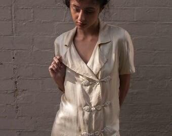 1930s fine silk chinoiserie blouse