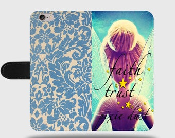Faith Trust Pixie Dust Tinker Bell Disney Floral Pattern Faux Leather Phone Cover with Magnetic Clasp for iPhone and Samsung Galaxy LM019
