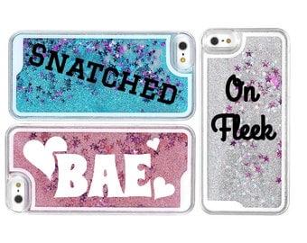 Fleek Snatched Bae Trendy Custom Liquid Glitter iPhone Samsung Case - Choose Your Color!