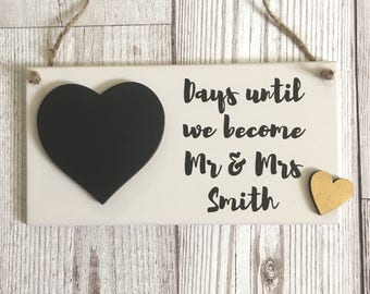 Wedding Countdown Plaque ~ Engagement Gift ~ Chalkboard Wedding Countdown ~ Wedding Countdown Sign ~ Bridal Shower ~ Wall Art & Home Decor