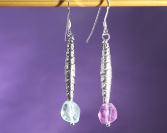 Rainbow Fluorite and Silver Cone Earrings, Bridal Earrings, Bridesmaid Gift, Gift for Mum, Gift for Wife
