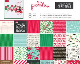 Pebbles Home For Christmas Paper Collection 12 x 12 - Home For Christmas Paper - 12x12 - Card Stock Paper - Christmas Paper Collection