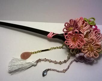 kanzashi style soutache hairpin