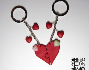 Heart keychain | puzzle heart | valentine's day keychain | couple keychain | heart pendant | valentine's day gift idea |red heart|fimo charm