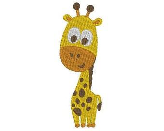 "2 sizes happy giraffe - machine embroidery design 4x4"" & 2.5x2.5"""