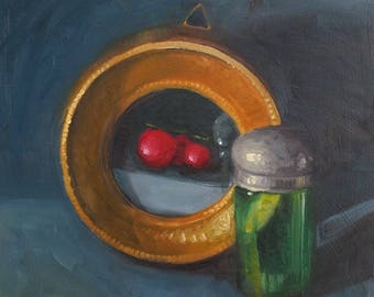 Green jar and oil painting