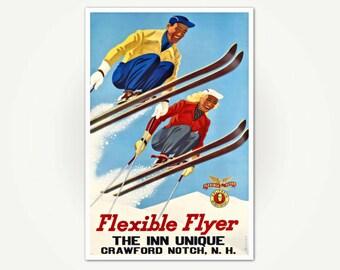 Vintage Mid Century Flexible Flyer Ski Poster Print - Vintage Ski Poster - Crawford Notch New Hampshire Travel Poster