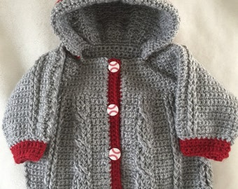 Crocheted Baby Sweater with Hood