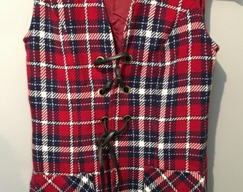 Vintage 1970s Enrico Tartan Vest with Leather Tie Up front and Pockets - Size 10