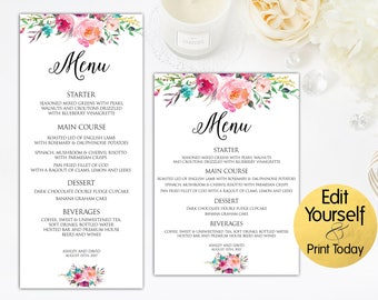 Wedding Menu Template, Watercolor Menu, Menu Template, Printable Menu Card, Wedding Menu Card, Editable Menu, Wedding Template, Menu Card