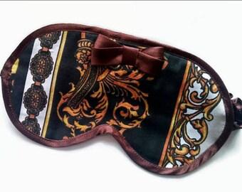 Brown Eye Mask with bow-Organic cotton eye pillow-Going Away Giftsleeping mask-Travel Mask- cute pajama- Birthday gift- Bachelorette party