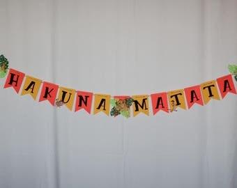 Hakuna Matata banner, hakuna matata, birthday banner, baby shower banner, lion, simba, timon, pumba, nala, hakuna matata