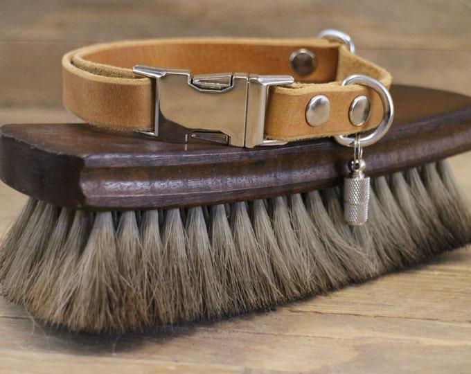 Collar, Clip collar, ID address tube, Custom leather collar, Dog collar, Pet gift, Side release buckle collar, XSmall collar, Classy collar.