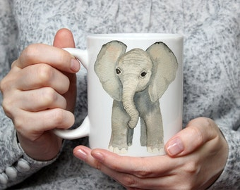 Watercolor Elephant Mug | Baby Elephant Coffee Cup | Republican Mug | Elephant Mug | America Mug | Christmas Gift Idea | Election Day Mug