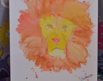 ORIGINAL Brave Lion Watercolor Painting Print