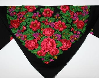 LARGE Russian Pavlovo-Posad Vintage Shawl/Scarf/Wrap 100%wool Russisch Tuch Challe russe Scialle russo Foulard russe Boho Scarf Folk B007