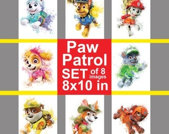 Paw patrol, Puppies set, 8x10 inches, Dogs from Paw patrol